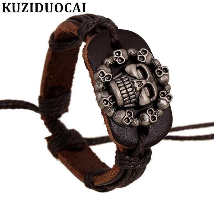 Kuziduocai 新ファッションジュエリーレトロパンク牛革ベルベットの頭蓋骨鋳造バングル & ブレスレット女性男性 Bileklik Pulseiras B-132
