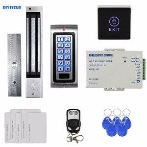 DIYSECUR сенсорная кнопка 125 кГц RFID с металлической клавиатурой, система контроля доступа + магнитный дверной замок 280 кг + пульт дистанционного ...