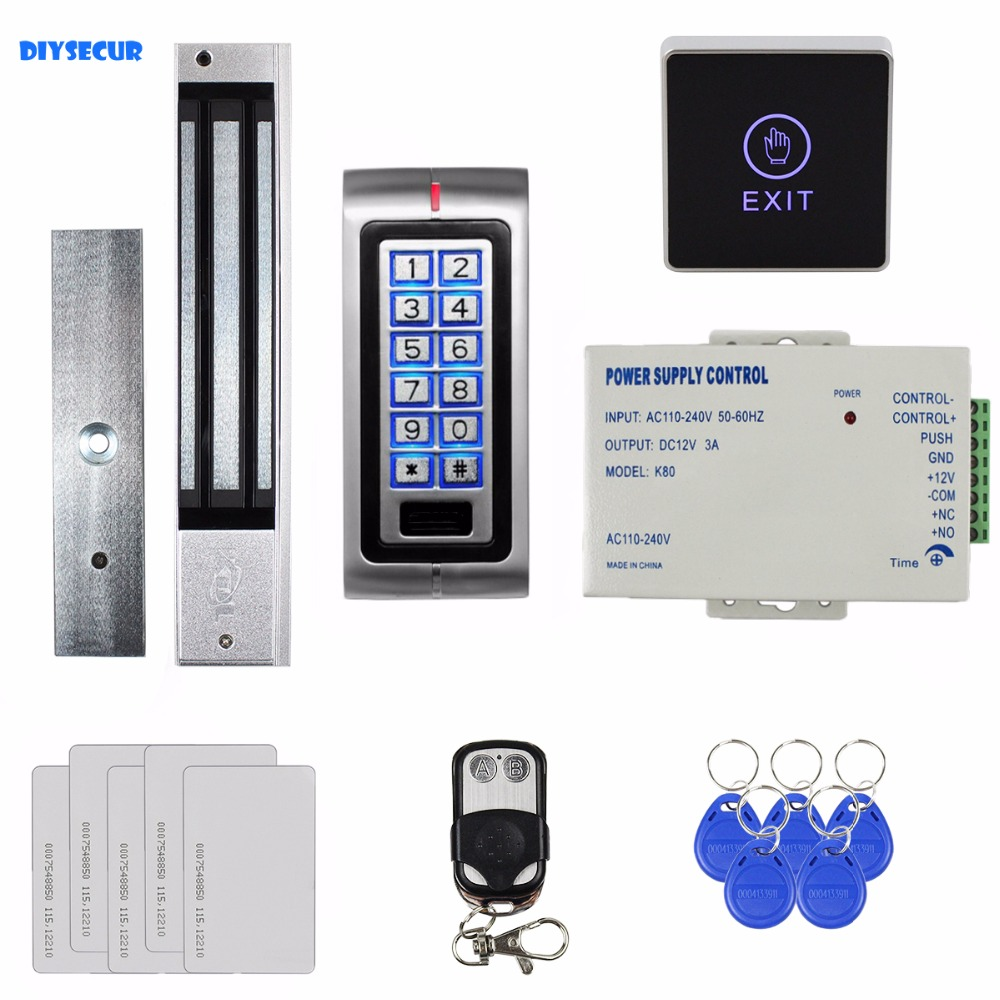 DIYSECUR Touch Button 125KHz RFID Metal Keypad Access Control System Kit + 280kg Magnetic Door Lock + Remote Controller K2 diysecur metal case touch button 125khz rfid card reader door access controller system password keypad c20