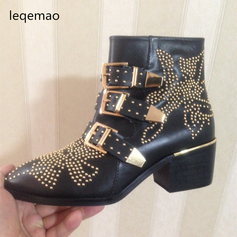 New Fashion Luxury Brand Genuine Leather Ankle Women Pointed Toe Rivet Flower Buckle Strap Sexy Martin Boots High Quality Shoes enmayer new motorcycle boots for women sexy rivet shoes fashion martin boots genuine leather boots
