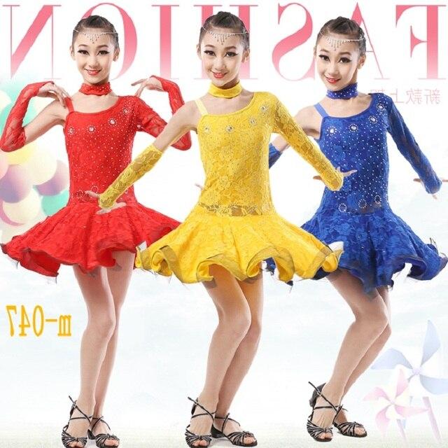 914788fbfcf3c dans girls lace latin dance dress skirt competition dresses kids ballroom  dresses for tango samba costumes