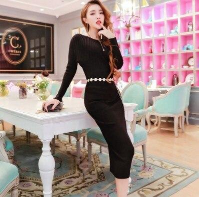 Dress 2017 autumn and winter new Korean version of the Korean fashion knitted bats sweater dress dress