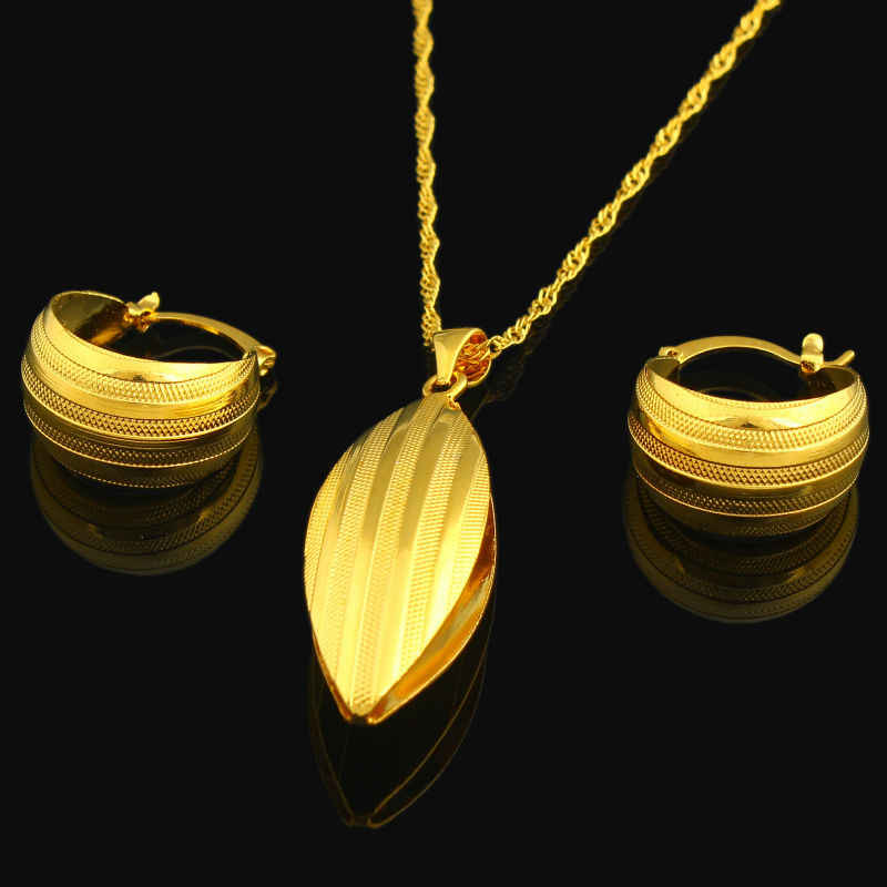 New Ethiopian Jewelry Set 22K Gold Color Necklace/Pendant/Earring Jewelry African/Nigeria/Arabic Bridal Wedding Jewelry Sets