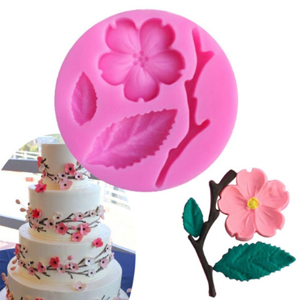 3D Peach Blossom Silicone  Mold Chocolate Fondant Cake Sugar craft Decorating Candy Tools Kitchen Baking Suppies