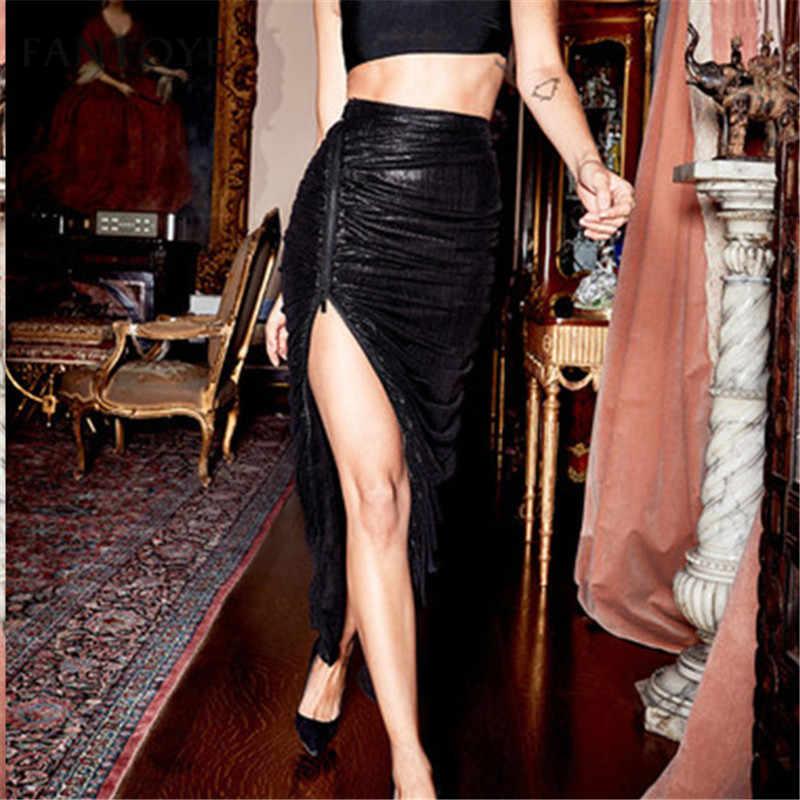 Fantoye 2019 falda de corte alto mujer elegante plisado fiesta Clubwear negro de cintura alta con cremallera lateral Maxi Bodycon Slim Faldas de mujer