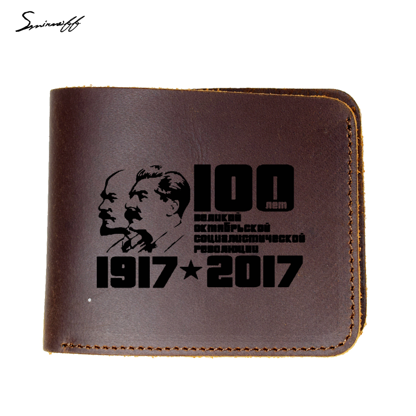 CCCP Genuine Leather Men Wallet Soviet Union 100th Anniversary Memorial Laser Engraved Lenin and Stalin portrait Wallet Purse wallet