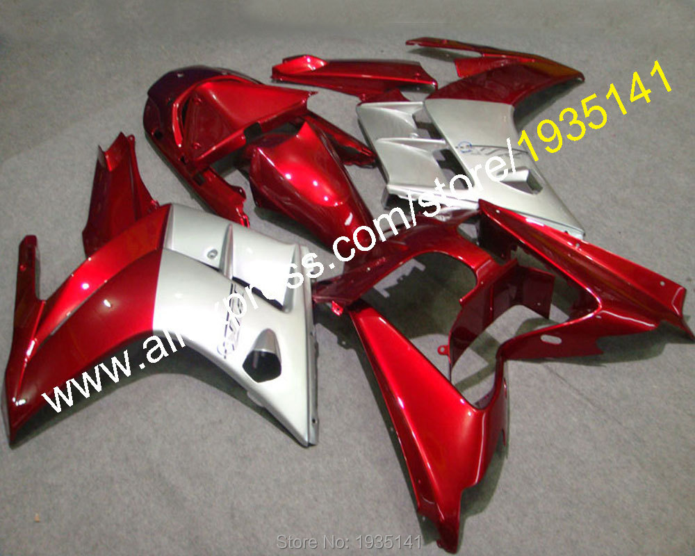 Hot Sales,Silver red Cowling For Yamaha FJR1300 2002 2003 2004 2005 2006 FJR 1300 02 03 04 05 06 Motorcycle Body kit fairing set