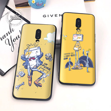 Cute Cat Box robot for Coque Oneplus 6T Case Black soft TPU 7 1+6T Phone New Fashion case Cover