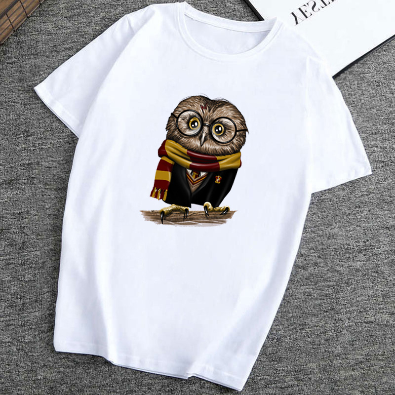 Women T Shirt Madrids Fashion Cute Owl Harry Owly Potter Short Sleeve Tops Hipster Tee T-Shirt Femme Print  Tee Shirt