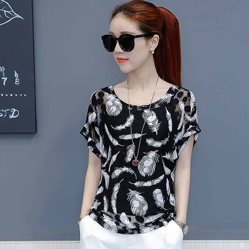 Hollow Out Women Spring Summer Style Chiffon Blouses Casual Flower Leaf Feather Printed Chiffon Blusas Tops Feminina DF1512
