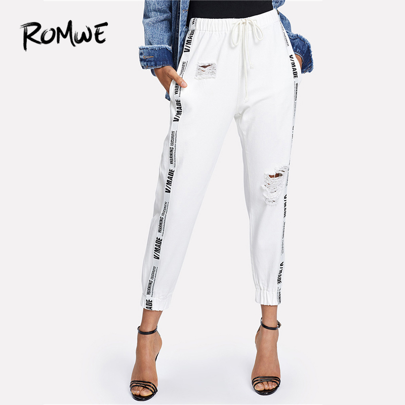 ROMWE Ribbon Letter Ripped Drawstring Denim <font><b>Jeans</b></font> 2018 Summer Autumn Women <font><b>Beige</b></font> Mid Waist Regular Female Casual Long Pants