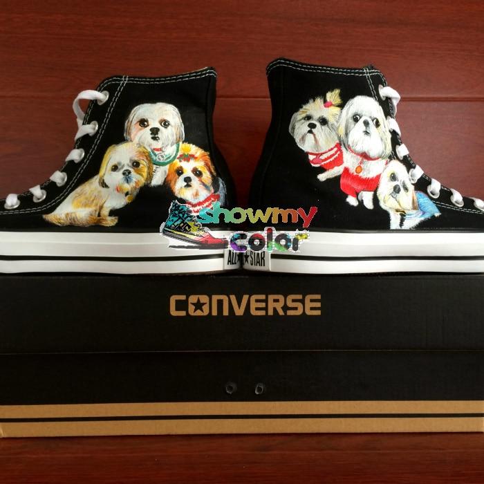 Man Woman Converse Chuck Taylor Men Women Shoes Dog Original Design Custom Hand Painted Shoes Black Skateboarding Shoes