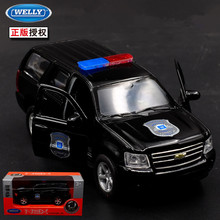 1pc 1 36 11 5cm delicacy WELLY Chevrolet Tahoe police patrol wagon car alloy model home