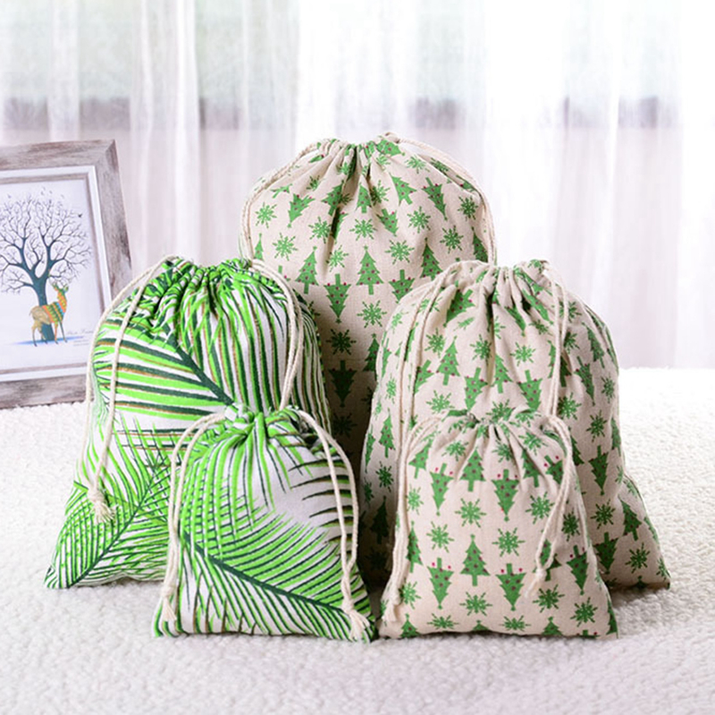 Travel Accessories Fashion Cotton Linen Drawstring Makeup Bag Green Tree Packing Organizer Toiletry Sundries Storage Gift Pouch
