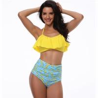 Solid Off Shoulder Bikini Cute Bandeau Lady Bikini High Waist Swimwear Women Padded Swimsuit Ruffle Female