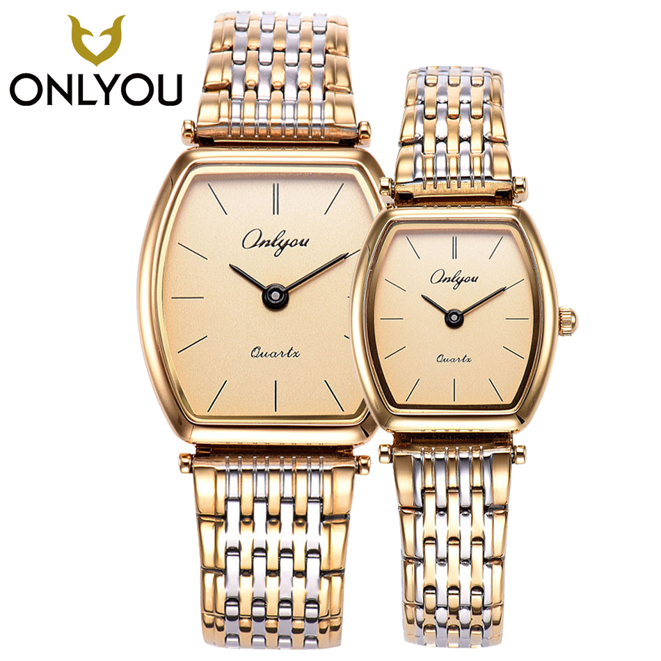 ONLYOU 2PCS Lovers Watch Women Waterproof Wristwatch Men Stainless Steel Gold Dress Casual Girls Clock Male relogio masculino onlyou men s watch women unique fashion leisure quartz watches band brown watch male clock ladies dress wristwatch black men