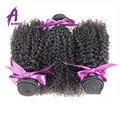Alimice 7А Необработанные Природные Бразильские Странный Фигурные Девственные Волосы Продукты 3-4 Шт. Афро Кудрявый Переплетения Человеческих Волос пучки
