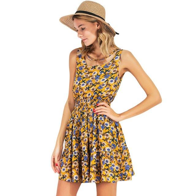 0bfce0a325f3e Las mujeres Floral de gasa vestido de verano 2019 elástica cintura Mini vestido  sin mangas de