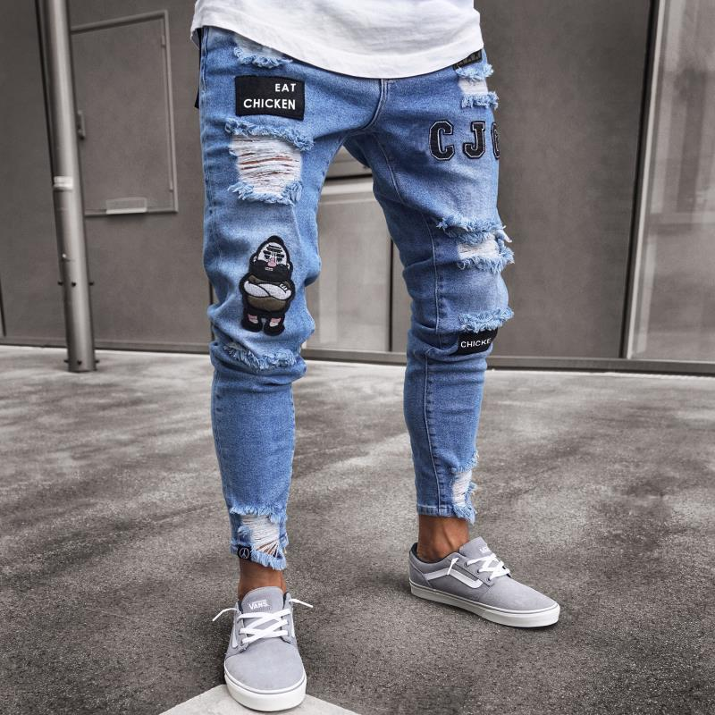 TJWLKJ Hip Hop Men Stretchy Ripped Skinny Embroidery Print Jeans Destroyed Hole Taped Slim Fit Denim Scratched High Quality Jean