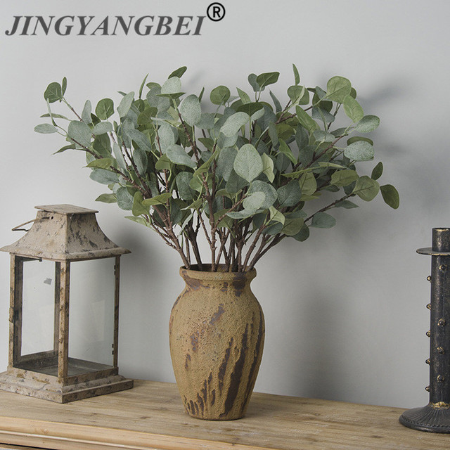 Artificial Plastic plant Eucalyptus leaves Branch Money grass home decorative fake flowers  Indoor potted  decoration