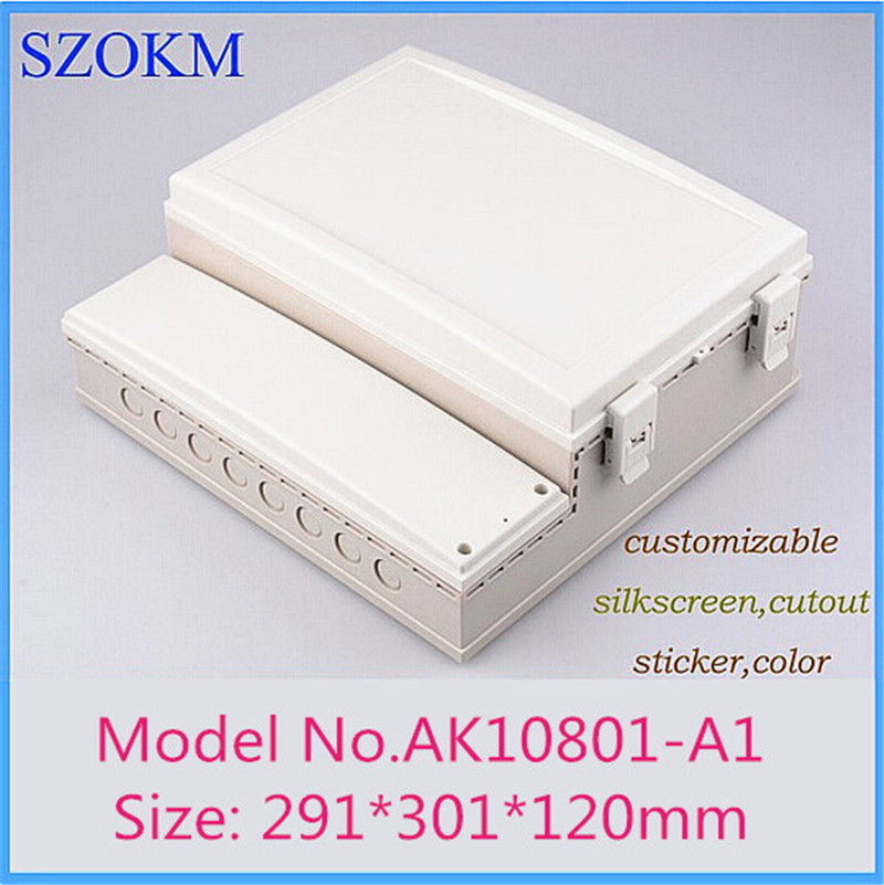 (1 pcs) szomk plastic hinge box IP68 waterproof electronics container 291*301*120mm plastic project box electronic case 4pcs a lot diy plastic enclosure for electronic handheld led junction box abs housing control box waterproof case 238 134 50mm