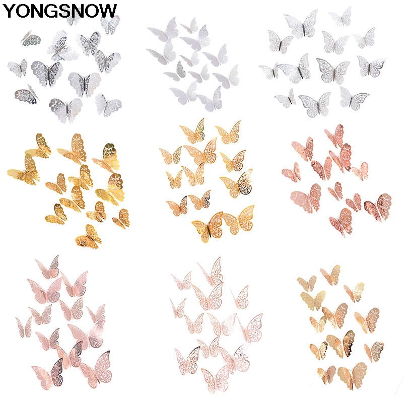 12Pc Beautiful Rose Gold Silver 3D Hollow Butterfly Wall Sticker For Wedding Birthday Party Home Kids Room Decoration Wall Decal(China)