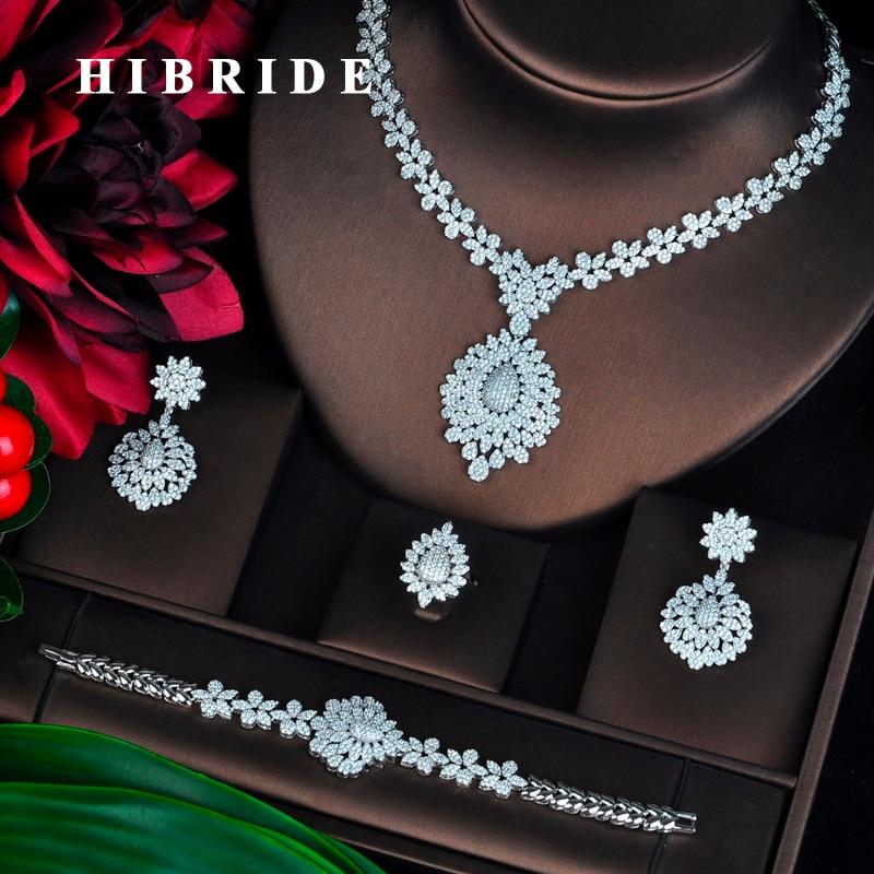 HIBRIDE New Full Cubic Zirconia Big Pendientes Jewelry Set For Women Bridal Wedding Accessories parure bijoux