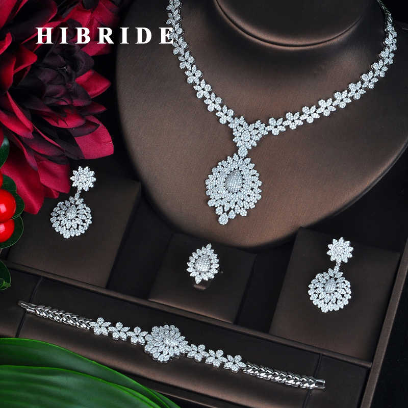HIBRIDE New Full Cubic Zirconia Big Pendientes Jewelry Set For Women Bridal Wedding Accessories parure bijoux femme N-706