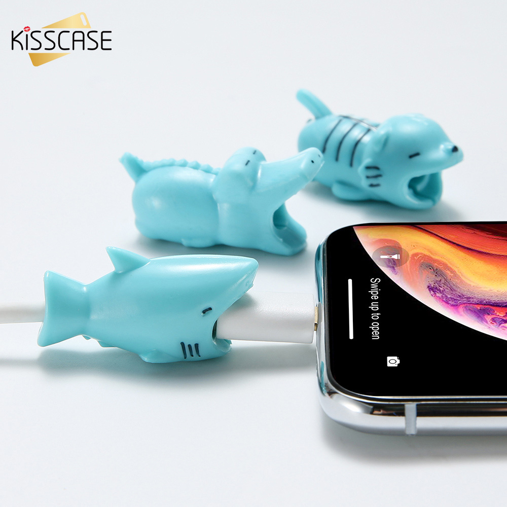 KISSCASE Cable Protector For iPhone Samsung Charger Protection Cable USB Cord Saver Cute Animal Bite USB Cable Winder Organizer