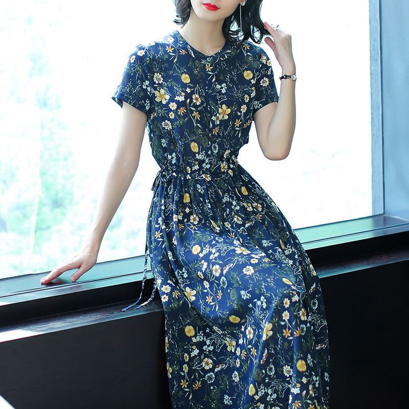 Navy blue Chinese Mulberry silk Dress 2019 summer dresses woman party night plus size elegant vintage button midi print clothing