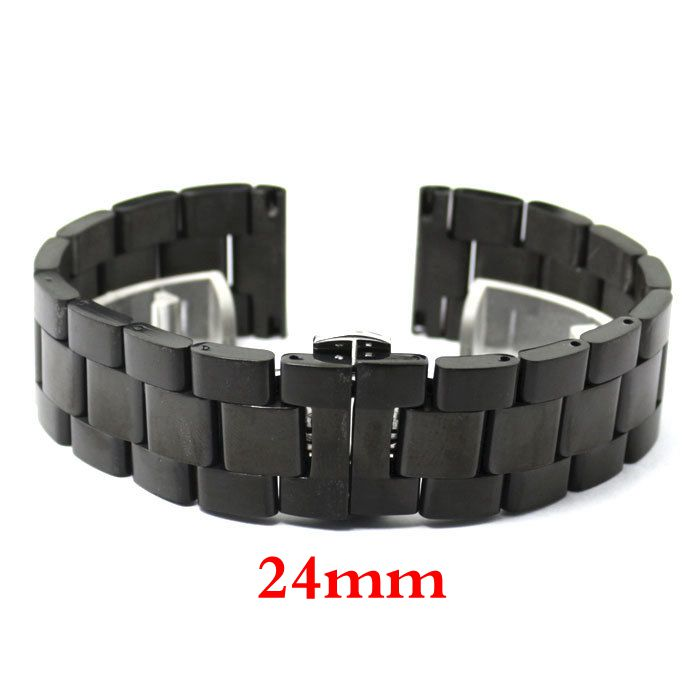 24mm Black Solid Link Stainless Steel Wrist Watch Band Deployment Buckle With Push Button Strap Bracelet Men Women GD013924 stylish 29 led 3 color light digit stainless steel bracelet wrist watch black