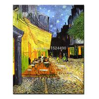 Vincent Van Gogh Of Cafe Terrace At Night Art Poster Giclee Hand Painted Canvas Oil Painting Wall Art For Living Room Home Decor