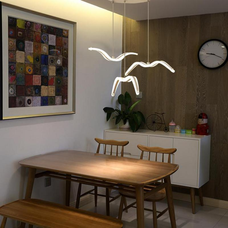 Nordic Dining Room Chandelier Single head Modern Simple Personality Creativity Led Acrylic Seagull Bedside Bar Chandelier