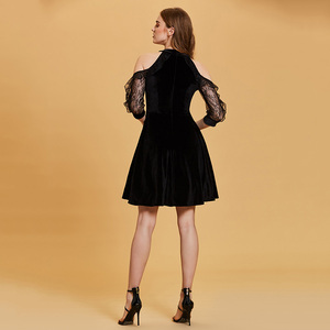 Image 2 - Dressv nero vestito da cocktail a buon mercato scoop neck una linea senza maniche zipper up abiti di laurea vestito da partito elegante vestito da cocktail di modo