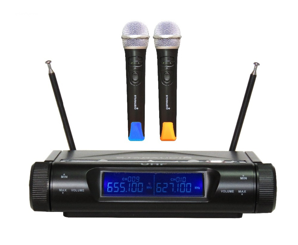 STARAUDIO SMU-2020A UHF Professional Wireless 2 Channel Dual DJ Handheld Microphones System Mic