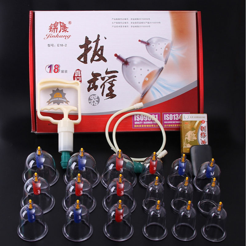 18 Pieces Cans cups chinese vacuum cupping kit pull out a vacuum apparatus therapy relax massagers curve suction pumps cheap 12 pcs cups vacuum cupping massage therapy body beauty relax chinese medical apparatus therapy suction cupping massagers