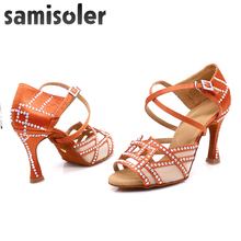 Samisoler Brown 2019 New Latin Dance Shoes ballroom dance shoes latin Rhinestone Ballroom latce