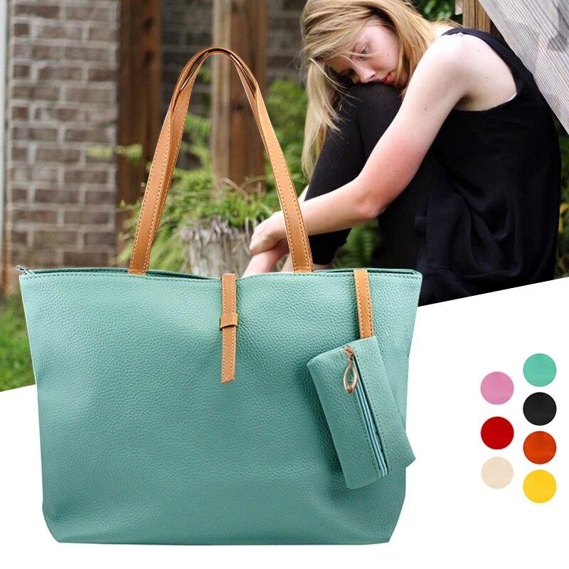 1 Pcs Women Lady Shoulder Bag PU Leather Large Capacity Fashion For Travel Money PO66