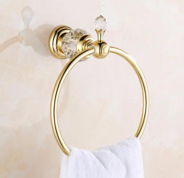 Luxury Crystal Brass Gold Towel Ring,Towel Holder, Bathroom Accessories home decoration useful Free Shipping copper finished luxury gold towel holder brass towel ring bathroom accessories with crystal decoration