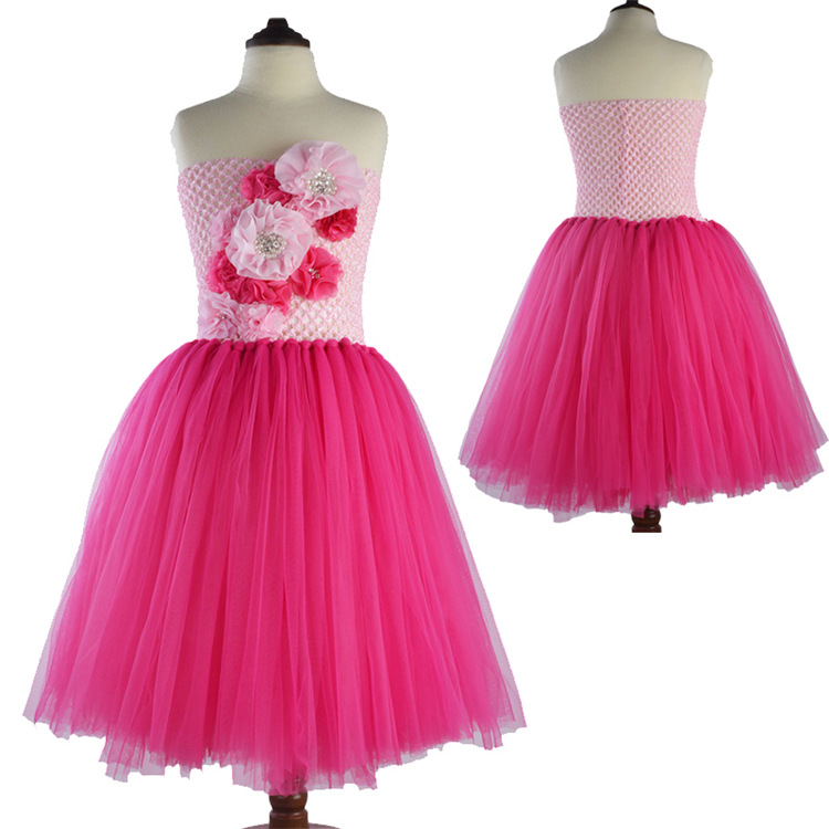 Flower Girl Tutu Dress Tube Top Kids Girl Pageant Flower Dresses For Little Girls Dancing Birthday Wedding hot pink tutu gowns