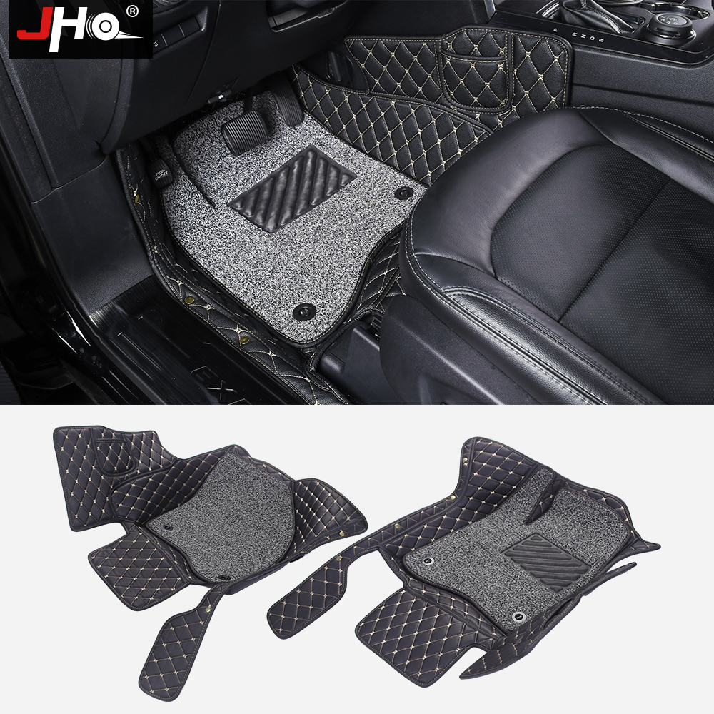 JHO Luxury Surround Wire Mat Floor Carpets Foot Mats for Ford Explorer 2013 2014 2015 16 17 7 Seats Anti-dirty Cover Car Styling