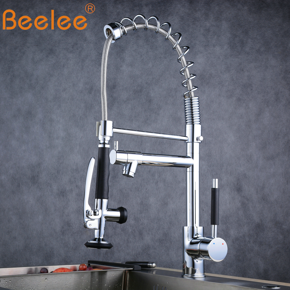 Kitchen Faucet Beelee Pull Down Faucet for Kitchen Chrome/Nickle  Solid Brasss Dual Spouts 360 Swivel Water Mixer Tap
