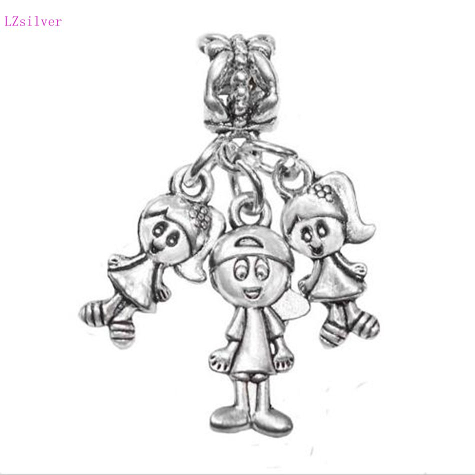 30pcs Ancient Silver Triplets 2 Girls 1 Boy Babies Siblings Charm