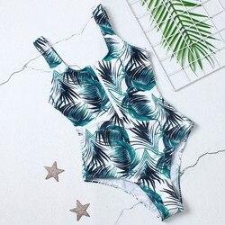 2019 сексуальный женский купальник на ремешке с принтом листьев, Цельный купальник, на молнии, с u-образным вырезом, купальный костюм, летний к... 4