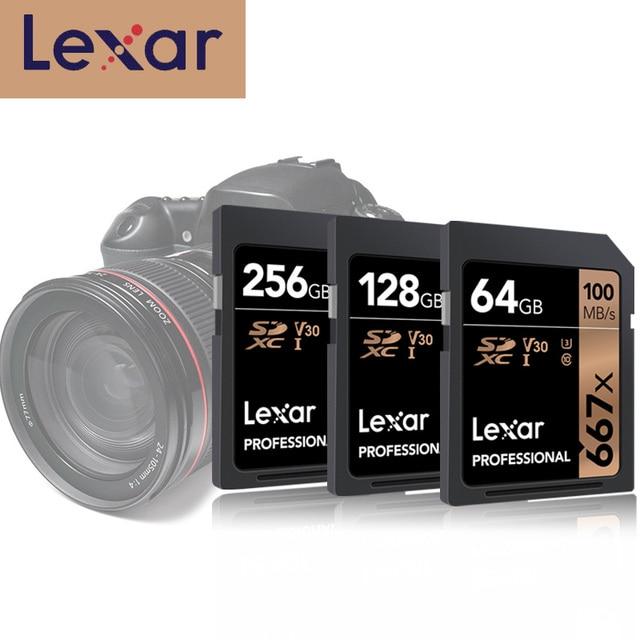 Original Lexar 667x การ์ด SD U3 SDXC UHS I 128GB SD เครือข่าย 256GB Class 10 V30 Carte SD 32 GB 64 GB สำหรับ 1080p 3D 4K