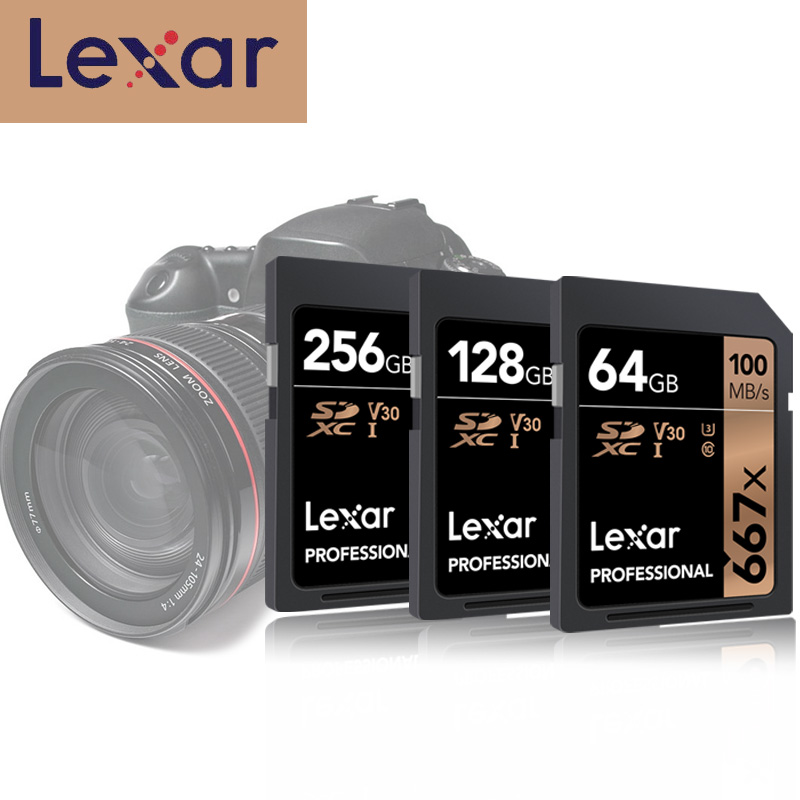 Original Lexar SD Card 100M/s U3 SDXC UHS I 128GB SD Kaart 256GB Class 10 V30 Carte SD 32 GB 64 GB For 1080p 3D 4K video Camera-in Memory Cards from Computer & Office