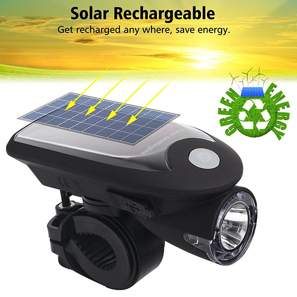 LED USB Rechargeable Bike Light <font><b>Headlight</b></font> Solar Energy Bicycle Front Light Waterproof with 360 Degree Rotating Mount ALS