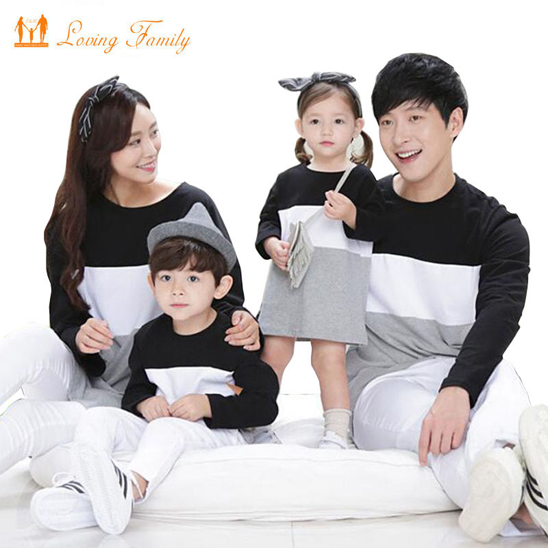 Family Matching Outfits Mother Daughter Dress Family Look 2018 Family Clothing Father Son T-Shirt Cotton Patchwork Striped купить недорого в Москве