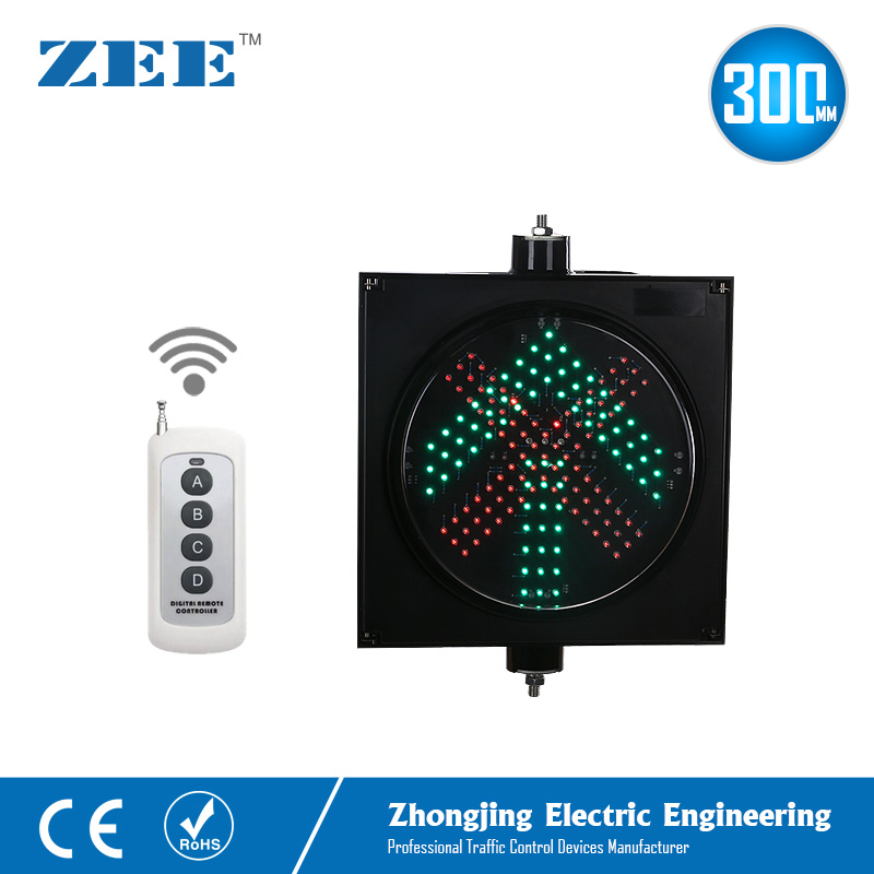 Hand-held Wireless Controller LED Traffic Light 300mm 220V or 12V 24V RED Cross and Green Arrow Traffic Signal Light LED Signs