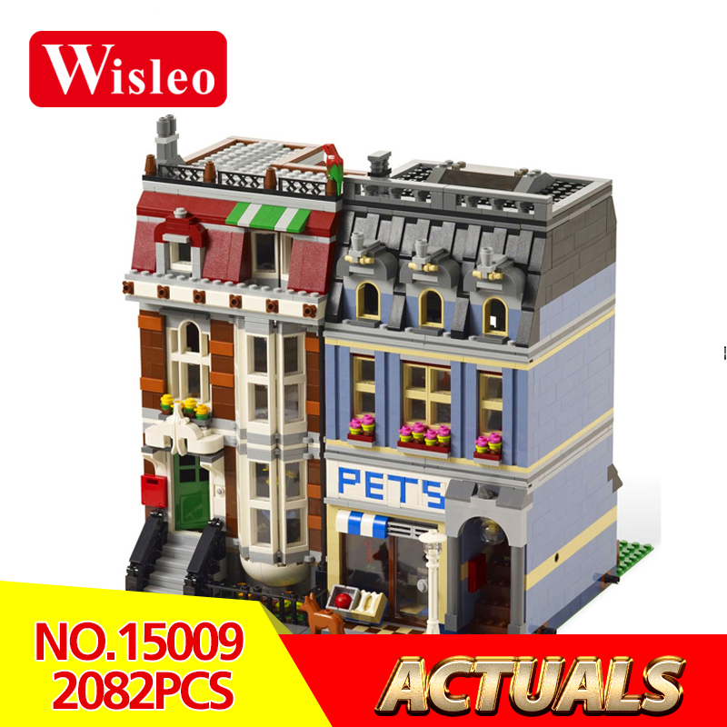 Wisleo 15009 2082pcs City Street Creator Pet Shop Supermarket Model Building Block Kids Toys Compatible LegoINGlys 10218 bricks a toy a dream lepin 15008 2462pcs city street creator green grocer model building kits blocks bricks compatible 10185